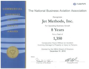 Jet Methods Commercial Award Certificate
