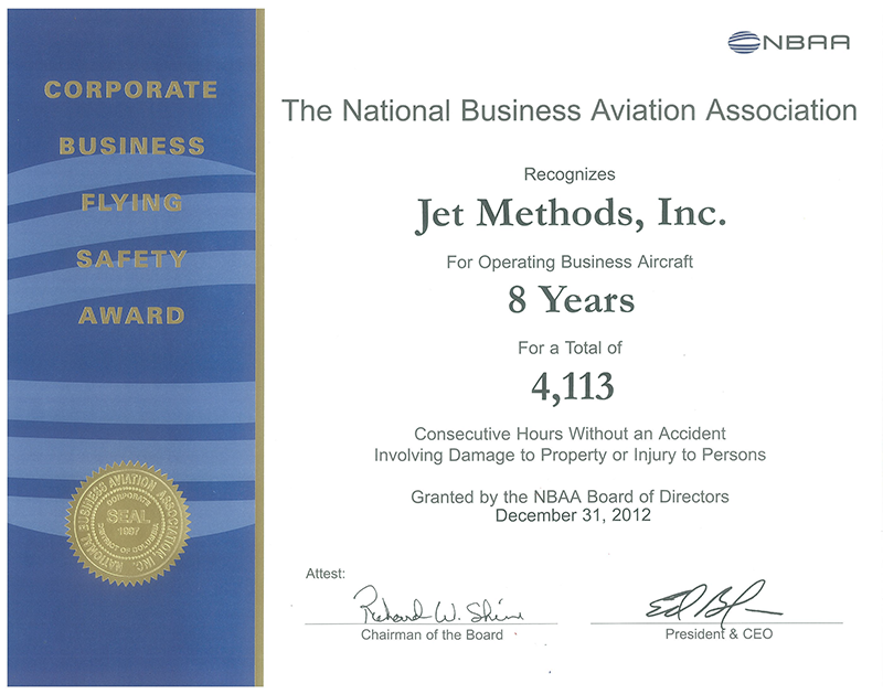 The National Business Aviation Association Corporate Award Certificate -