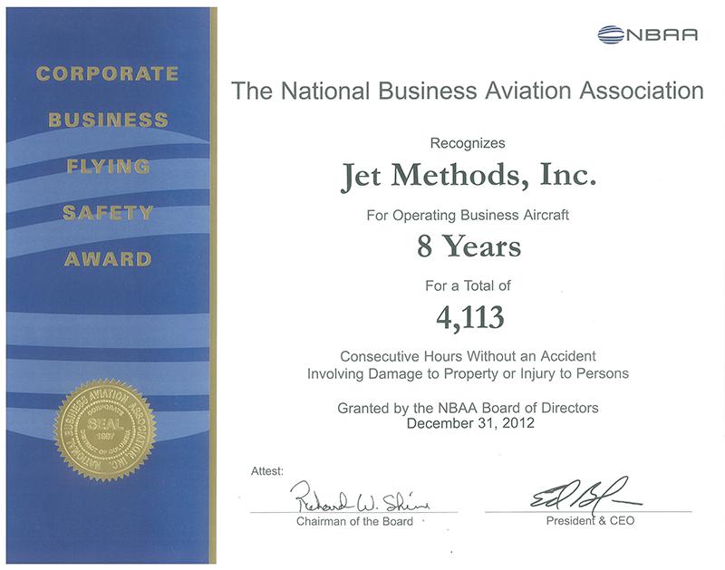 Jet Methods Corporate Award Certificate